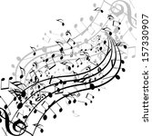 black music notes isolated on a ...   Shutterstock . vector #157330907