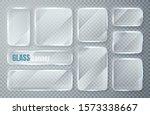 glass plates set. glass banners ... | Shutterstock .eps vector #1573338667