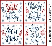 set of merry christmas greeting ... | Shutterstock .eps vector #1573350427