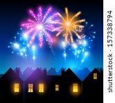 fireworks lighting up the sky... | Shutterstock .eps vector #157338794