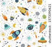 childish seamless pattern with... | Shutterstock .eps vector #1573390621