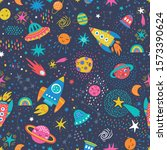 childish seamless pattern with... | Shutterstock .eps vector #1573390624