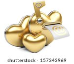 Gold box in the form of heart. 3d image isolated on white background. - stock photo