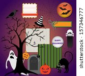 collection of halloween design...   Shutterstock .eps vector #157346777