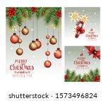 set poster of merry christmas... | Shutterstock .eps vector #1573496824