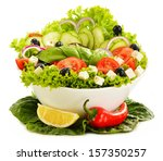 vegetable salad bowl isolated... | Shutterstock . vector #157350257