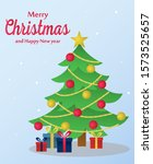 christmas tree with gifts box... | Shutterstock .eps vector #1573525657