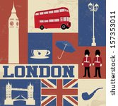 retro style poster with london... | Shutterstock .eps vector #157353011