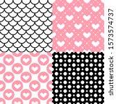 valentine's day patterns. set... | Shutterstock .eps vector #1573574737