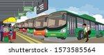 illustration of delhi bus depot ... | Shutterstock .eps vector #1573585564