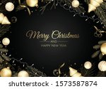 christmas greeting card with... | Shutterstock .eps vector #1573587874