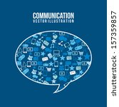 communication icons over blue ... | Shutterstock .eps vector #157359857