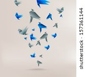 origami paper bird on abstract... | Shutterstock . vector #157361144