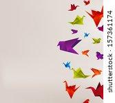 origami paper bird on abstract... | Shutterstock . vector #157361174