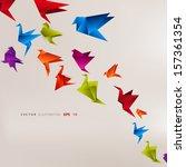 origami paper bird.vector... | Shutterstock .eps vector #157361354