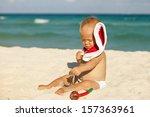 cute child celebrating... | Shutterstock . vector #157363961