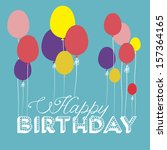 happy birthday design over blue ... | Shutterstock .eps vector #157364165