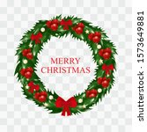christmas wreath of holly with...   Shutterstock .eps vector #1573649881