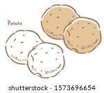 potato isolated on white.... | Shutterstock .eps vector #1573696654