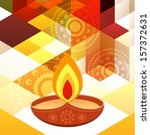 beautiful diwali diya on... | Shutterstock .eps vector #157372631