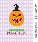 halloween pumpkin poster | Shutterstock .eps vector #157383419