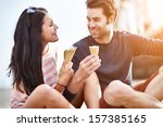 couple at amusement park... | Shutterstock . vector #157385165