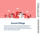 autumn season in small town ...   Shutterstock .eps vector #1573975021