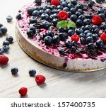 Cheese Cake  On Wooden Table....