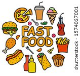 illustration of the fast food... | Shutterstock .eps vector #1574037001