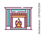 fireplace color line icon....