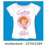 cute girl skate t shirt | Shutterstock .eps vector #157412189