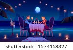 couple at night beach romantic... | Shutterstock .eps vector #1574158327