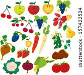 fruits and vegetables | Shutterstock . vector #157422524