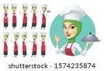 muslim female chef character... | Shutterstock .eps vector #1574235874
