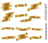 gold ribbon set in isolated for ... | Shutterstock .eps vector #1574247397
