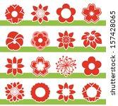 vector set of blooming flowers  ... | Shutterstock .eps vector #157428065
