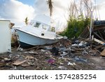 Hurricane Damage Boat And Debris
