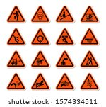 triangular warning hazard... | Shutterstock .eps vector #1574334511