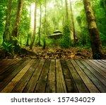 wooden platform and green... | Shutterstock . vector #157434029