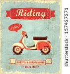 Stock vector vintage scooter poster design 157437371