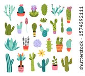 cactus vector illustrations set.... | Shutterstock .eps vector #1574392111