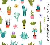 cacti seamless pattern. vector... | Shutterstock .eps vector #1574392117