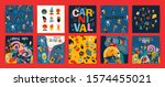 hello carnival. vector set of... | Shutterstock .eps vector #1574455021