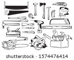 Set Of Tools Kit For Carpentry. ...