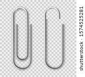 realistic metal paper clip... | Shutterstock .eps vector #1574525281