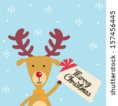 reindeer holding christmas card | Shutterstock .eps vector #157456445