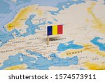 The flag of romania in the...