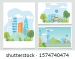 urban ecology parking bicycles...   Shutterstock .eps vector #1574740474