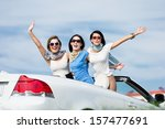 group of girls stands in the... | Shutterstock . vector #157477691