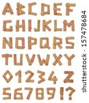 Wooden Vector Alphabet Font A...